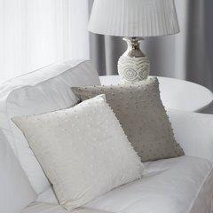 Poszewka na poduszkę 45 x 45 cm szaro beżowa z perełkami  - 45 X 45 cm - beżowy 7