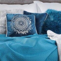 Poszewka na poduszkę welwetowa z lamówką mandala 45 x 45 cm ciemno zielona - 45x45 - zielony 4
