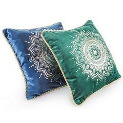 Poszewka na poduszkę welwetowa z lamówką mandala 45 x 45 cm ciemno zielona - 45x45 - zielony 2