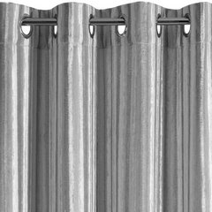 Zasłona welwetowa z wytłaczanymi pasami srebrna 140x250 cm przelotki - 140x250 - srebrny 5