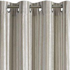 Zasłona welwetowa z wytłaczanymi pasami beżowa 140x250 cm przelotki - 140 X 250 cm - beżowy 6