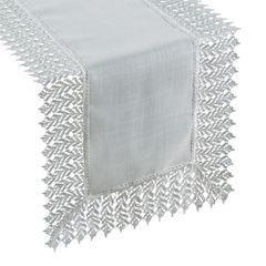 Srebrny BIEŻNIK NA STÓŁ do JADALNI gipiura 35x140 cm - 35x140 - Srebrny 1