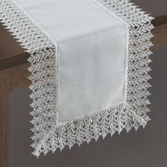 Srebrny bieżnik na stół do jadalni gipiura 35x140 cm - 35x140 - Srebrny 2