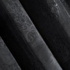 Zasłona welwetowa czarna z ornamentowym wzorem 140x250 cm przelotki - 140x250 - czarny 2