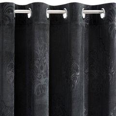 Zasłona welwetowa czarna z ornamentowym wzorem 140x250 cm przelotki - 140x250 - czarny 5