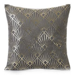 Poszewka na poduszkę z stalowa ze wzorem ze złotej nici 40 x 40 cm  - 40 X 40 cm - stalowy/srebrny 1