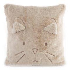 Poszewka na poduszkę 45 x 45 cm kotek z wąsami i uszkami pudrowa  - 45 X 45 cm - pudrowy 1