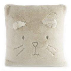 Poszewka na poduszkę 45 x 45 cm kotek z wąsami i uszkami kremowa - 45 X 45 cm - kremowy 1