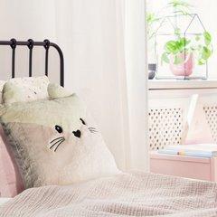Poszewka na poduszkę zwierzątko z uszkami 45 x 45 cm kremowo różowa  - 45 X 45 cm - różowy/jasnobeżowy 7