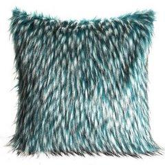 Poszewka na poduszkę 45 x 45 cm włochate futerko dwukolorowe turkusowo białe  - 45 X 45 cm - turkusowy/czarny 1