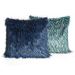Poszewka na poduszkę 45 x 45 cm włochate futerko niebiesko czarna  - 45x45 - niebieski / czarny 2
