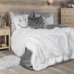 Poszewka na poduszkę futerko uśmiech 45 x 45 cm szara - 45 X 45 cm - popielaty 7