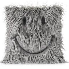 Poszewka na poduszkę futerko uśmiech 45 x 45 cm szara - 45 X 45 cm - popielaty 1