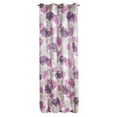 Zasłona liście monstery fiolet i róż 140x250 na przelotkach - 140x250 - Biały / Fioletowy 7