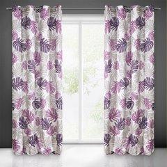 Zasłona liście monstery fiolet i róż 140x250 na przelotkach - 140x250 - Biały / Fioletowy 1