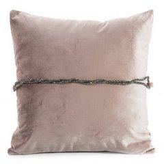 Poszewka na poduszkę 45 x 45 cm różowa ze srebrnym paskiem  - 45x45 - różowy 1