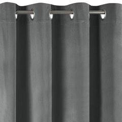 Zasłona grafitowa z welwetu na przelotkach 140 x 250 cm  - 140 X 250 cm - grafitowy 6