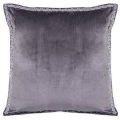 Elegancka poszewka na poduszkę ciemnoszara ze srebrnym wykończeniem 40 x 40 cm  - 40 X 40 cm - grafitowy 1