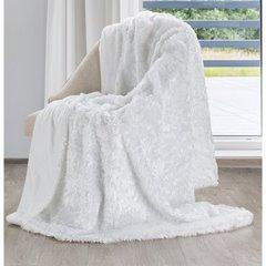 Futerkowy miękki koc biały z długim włosiem 150x200 - 150 X 200 cm - biały 2