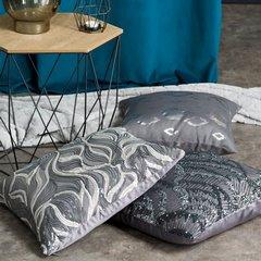 Poszewka na poduszkę 45 x 45 cm lśniąca stalowa  - 45 X 45 cm - stalowy 5