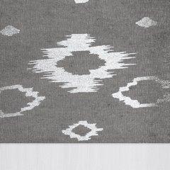 Zasłona zwiewna z dekoracyjnym szarym pasem 140x250 cm przelotki - 140x250 - biały / szary 3