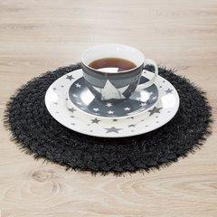 Włochata podkładka stołowa czarna okrągła średnica 38 cm - ∅ 38 cm - czarny 2
