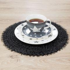 Włochata podkładka stołowa czarna okrągła średnica 38 cm - ∅ 38 cm - czarny 4