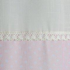 Zasłona zdobiona nadrukiem we flamingi i koronką - 140x250 - różowy 3