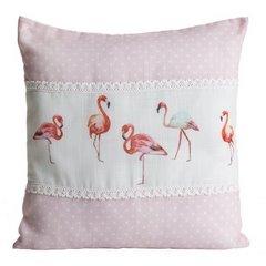 Poszewka na poduszkę 40 x 40 cm biało różowa flamingi  - 40 X 40 cm - różowy/biały 1