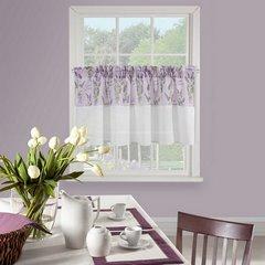 Firana zazdrostka 60 x 150 cm biało fioletowa wrzosy  - 150 X 60 cm - fioletowy/biały 1