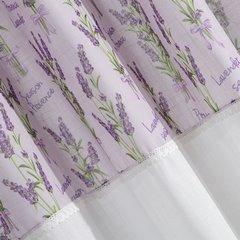 Firana Zazdrostka 90 x 150 cm biało fioletowa wrzosy  - 90x150 - biały / fioletowy 1