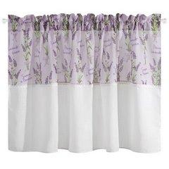 Firana Zazdrostka 90 x 150 cm biało fioletowa wrzosy  - 90x150 - biały / fioletowy 3