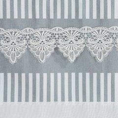 Zasłona srebrno biała z piękną koronką 140 x 250 cm na taśmie - 140 X 250 cm - biały/stalowy 4