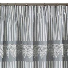 Zasłona srebrno biała z piękną koronką 140 x 250 cm na taśmie - 140 X 250 cm - biały/stalowy 6
