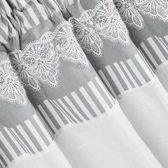 Firana zazdrostka 60 x 150 cm szaro biała z piękną koronką  - 60 X 150 cm - biały/szary 2