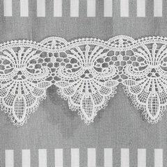 Firana zazdrostka 60 x 150 cm szaro biała z piękną koronką  - 60 X 150 cm - biały/szary 3