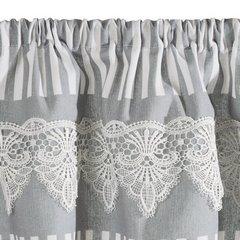 Firana zazdrostka 60 x 150 cm szaro biała z piękną koronką  - 60 X 150 cm - biały/szary 5