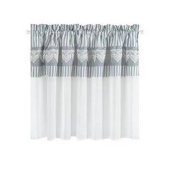 Firana zazdrostka 90 x 150 cm szaro biała z piękną koronką  - 90 X 150 cm - biały/szary 4