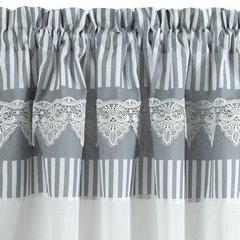Firana zazdrostka 90 x 150 cm szaro biała z piękną koronką  - 90 X 150 cm - biały/szary 5