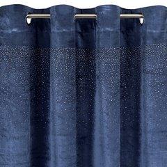 Zasłona welwetowa niebieska z kryształkami 140x250 cm przelotki - 140 X 250 cm - granatowy 6