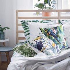 Poszewka na poduszkę 40 x 40 cm tukany i ananasy  - 40x40 - biały / niebieski 3