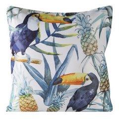 Poszewka na poduszkę 40 x 40 cm tukany i ananasy  - 40x40 - biały / niebieski 1