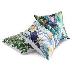 Poszewka na poduszkę 40 x 40 cm papugi  - 40 X 40 cm - zielony/niebieski 2