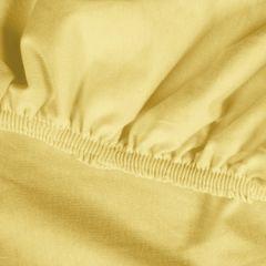 Żółte PRZEŚCIERADŁO BAWEŁNIANE  z jerseyu z gumką 140x200 cm - 140 X 200 cm, wys.25 cm - żółty 9