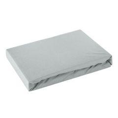 Prześcieradło bawełniane gładkie 90x200+25cm 140 kolor srebrny - 90 X 200 cm, wys.25 cm - jasnoszary 2