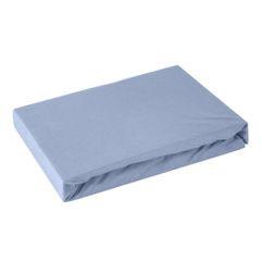 Prześcieradło bawełniane gładkie 120x200+25cm 140 kolor niebieski - 120 X 200 cm, wys.25 cm - niebieski 2