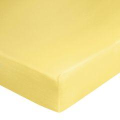 Prześcieradło bawełniane gładkie 120x200+25cm 140 kolor różowy - 120 X 200 cm, wys.25 cm - żółty 1