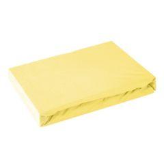 Prześcieradło bawełniane gładkie 120x200+25cm 140 kolor różowy - 120 X 200 cm, wys.25 cm - żółty 2