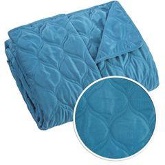 Narzuta na łóżko przeszywana 200x220 cm niebieska - 200 X 220 cm - niebieski 4