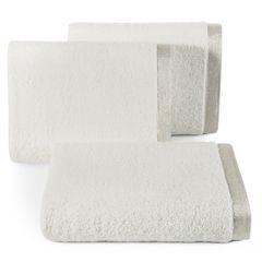 Ręcznik z bawełny z błyszczącym brzegiem 50x90cm biały - 50 X 90 cm - kremowy 1
